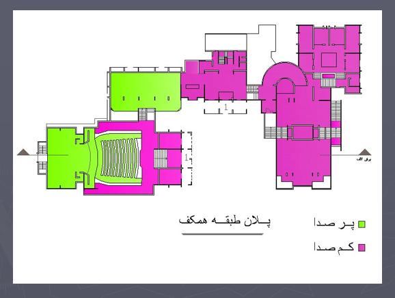 تحلیل فضاهای کم صدا و پر صدا در طبقه همکف
